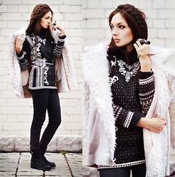 Lena Tsoon - Chic Wish Sweater, Choies Coat, Choies Boots - Black and white