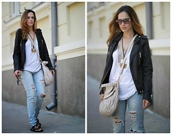 Tali Lugashi Nashon -  - Moto jacket and white tee