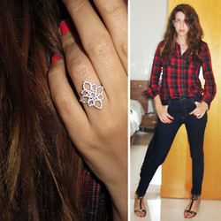 Shanie Zak Silly  Shiny Diamonds - Silly Shiny Lotus Flower Diamond Ring, Tnt High Waist Dark Jeans, Castro Red And Black Long Plaid Shirt, To Go Black And Gold Sandals - Casual Updated Jewelry Designer Look