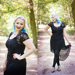 Alice Duporge - Forever 21 Black Asym Dress, Romwe Velvet Classic Black Leggings - Shell of Light
