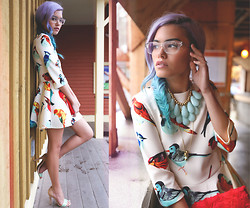 Alanna Durkovich - Derek Cardigan 7008 Ice, Half United 'Jude' Necklace, Oasap 3/4 Sleeve Bird Dress - Vibrant & Chirpy