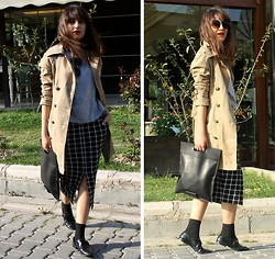 F COSMOS F - Cos Bag, Alexander Wang Shoes, Asos Skirt, Zerouv Sunnies - Camel Trenchcoat