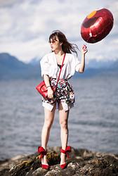 Ivy Xu - Acne Studios Shirt, Saint Laurent Bag, H&M Skirt, Aminah Abdul Jillil Heels - Birthday on the beach
