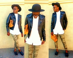 Ronald Gravesande - H&M White Dress Shirt, H&M Black Leather Jacket, Forever 21 Green Camo Pants, Asos Black Loafers With Tassels, Urban Outfitters Black Hat, Zara Brown Leather Bag - In the Brown Paper (Leather) Bag