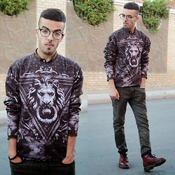 Faissal Yartaa - Fusion Store Sexy Sweater, Glasess Shop Mentor   Black, Rosewholesale Stylish Jacquard Pocket Embellished Snowflake Denim Jeans For Men - Don't put your head in the lions mouth