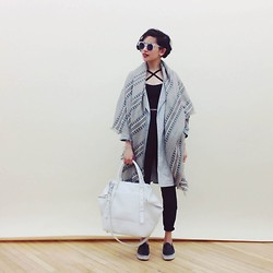 Bianca Venerayan - 80's Purple Sunglasses, Forever 21 Crop Top, Mackage Raffie Satchel - Cozygirl