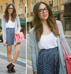 Daniela Ramirez - Abercrombie Skirt, Pink & Pepper Shoes, Bonlook Eyeglasses, Abercrombie Light Cardigan - Spring Light Layers