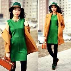 Aibina Yeshkeyeva - Chicnova Green Dress, Park Bravo Hat, Zara Coat - SPRING IN APRIL