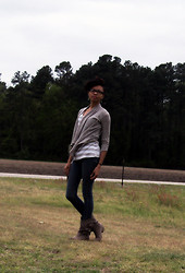 Shar E - Tan Open Cardigan, Striped Tank, Tan Cowboy Boots, Forever 21 Jeans - The Windy Easter