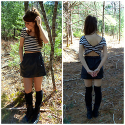 Lavenders E - Forever 21 Stripe B&W Crop Top, Bebe Faux Leather Skirt, H&M Knee High Socks - Waiting for the Sun