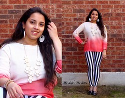 Harija Ravi - Romwe Little Zebra Leggings, Romwe Red Gradient Print White Jumper, Bubble Necklace, Oasap Random Sets, Ardene White Circle Earrings - Blushing Beauty