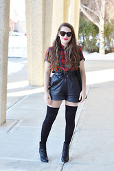 Sandy Joe Karpetz - Club Monaco Thigh High Socks, Rag & Bone Leather Booties, Vintage Leather Shorts, Vintage Plaid Top, Club Monaco Leather Belt, Karen Walker Sunglasses, Hudson Suede Purse - Plaid + Leather