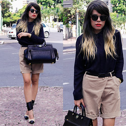 Priscila Diniz - Khaki Shorts, Black Blouse, M. Leon Black Leather Bag, Dip Dye Ombre Wig, Sunnies - Life shrinks or expands in proportion to one's courage