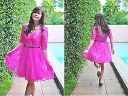 Stevia Indrawan - Unbranded Lace Dress, Rotelli Kitten Heels - Flirty Fuschia
