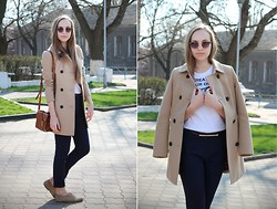 Viktoriya Vinstonova - Stradivarius Coat, Mango Pants, Pull & Bear Top, River Island Sunglasses - Sweater Weather