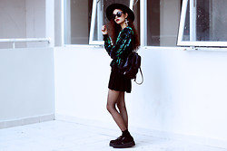 Vu Thien - Sheinside Sweatshirt, Thrift Store Skirt, T.U.K Creepers - SEQUIN