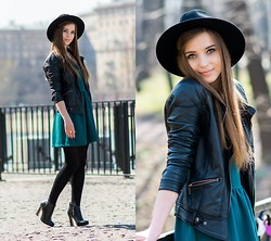 Aigulia Y. - H&M Hat, Zara Leather Jacket, Bershka Dress - Hat & Leather Jacket