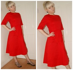 Ava Clarice Hornby - Lindybop Red Dress, George Gladiator Sandals, Primark Earrings - Modern Day Roman Vintage Style..