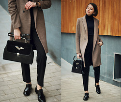 Bea G - Coat, Sweater, Trousers, Shoes, Bag, Watch - Half Masculine