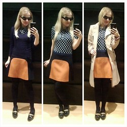 Gabriella B - Topshop Tulip Print Polo Top, Asos Cateye Sunglasses, Zara Classic Trench Coat, Promod V Neck Sweater, Zara Colour Block Skirt, New Look Patent Chain Loafers - Quant leap