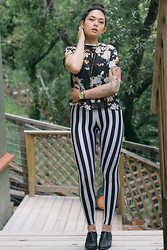 Danielle Payton - Romwe Blouse, Romwe Striped Leggings, Vintage Shoes - Miscellany, 4.21