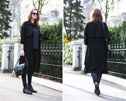 Mona K - Asos Trench, Forever 21 Bag, Urban Outfitters Shirt, Asos Boots - The Black Trench