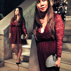 Faith Rodriguez - Berry Lace Dress, Sm Store Striped Straw Clutch, Marks & Spencer Black Suede Pumps - A Night In Berry (Baby Mama Lookbook)