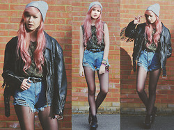 Amy Valentine - Grim Apparel Mandala Beanie, Urban Outfitters Buddha Tee, Sheinside Distressed Denim Shorts, Vintage Fringe Leather Jacket, Cute To The Core Platform Trainers - SO NOW YOU KNOW