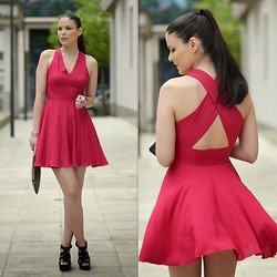 Paula Deiros - In Love With Fashion Dress, Mango Sandals - Raspberry Dress