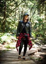 Jenaly Enns - H&M Faux Leather Jacket, Forever 21 Mens Shirt Jacket, American Apparel Matte Faux Leather Leggings, H&M Cross Over Sandals - Lynn Valley