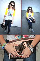 Alexa D - Society Cropped Sleeve Tee, Rock Revival Skinny Jeans, Sperry Sequined Boat Shoes, Prada Sunglasses, Louis Vuitton Tivoli Pm, Guess? Watch, Cartier Love Bangles, Cartier Love Rings, Fossil Bracelets - Casual Sunday