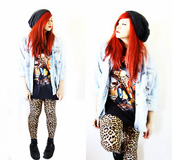 Jade Narcelles - Iron Maiden Band Shirt, Acid Wash Denim Jacket, Leopard Print Leggings, Creepers - Powerslave