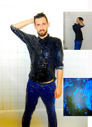 David Rodriguez - H&M Water Color Print Button Down, Bdg Cobalt Blue Jeans - WATER WORLD
