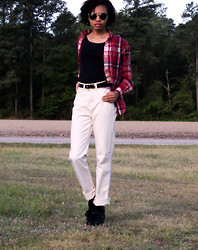 Shar E - Ralph Lauren Red Plaid Button Up, Off White High Waisted Jeans, Black Sneaker Wedges, Urban Outfitters Gold Rimmed Circle Frames - Mr. Ralph's Plaid