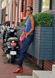 Danielle A - American Eagle Crop Top, Diane Von Furstenberg Jingle Bells Heels, Gstar Arc 3d Tapered Jeans, Wildfox Couture Clubfox Deluxe Sunglasses, Forever 21 Purse, Shashi Golden Nugget Bracelet - Aeo style - the crop top