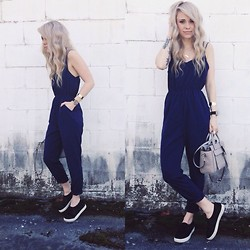 Mary Ellen Skye - Missguided Navy Jumpsuit, Coach Bag, Steve Madden Sneaks, Larsson And Jennings Watch - Blue