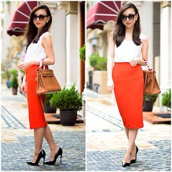 Monica W - H&M, Hermës Hermes, Goodnight Macaroon, Christian Louboutin, Asos - Work chic with a pop of orange red