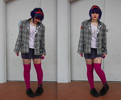 Chloe Carter - Second Hand Vintage Plaid Blazer, Urban Outfitters Thigh High Socks, Tuk Black Creepers - Cough Cool