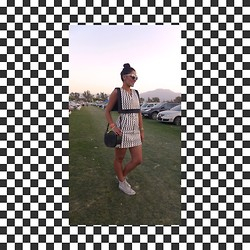 Gabriela Ballow - Alexander Wang Python Studded Crossbody Bag, Opening Ceremony Black And White Dress, Shakuhachi White Sunglasses, Converse Classic White Sneakers - Monochrome madness at Coachella Music Festival