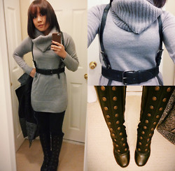 Clariza Jane - H&M Cowl Neck Knit Sweater, H&M Leggings, The Frye Company Adrienne Boot, Bcbg Leather Harness Belt, Tweed And Leather Coat - 04222014 - Boots and Harness (old outfit)