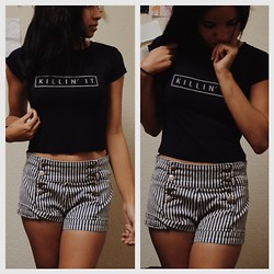 Bianca Martin - Brandy Melville Usa Crop Top, Forever 21 High Waist Shorts - Sailor.