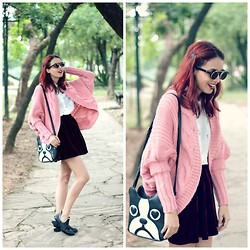 Glena Martins - Oasap Cardigan, Mart Of China Dog Bag, Oasap Boots, Zerouv Sunnies - Red and Pink