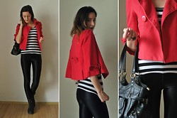 Luc B. - Ann Christine Short Jacket, H&M Stripped Shirt, H&M Disco Pants - The white stripes.