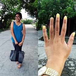 Trish Caning - Penshoppe Gold Necklace, Coco Cabana Blue Top, Red Jeans Skinny, Grab! Bag, Gruen Watch - Ambiguous