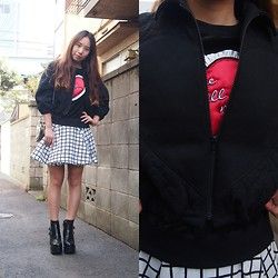 Yu Kuwabara - G.V.G.V. Velour Relax Sweat Shirt W/Heart, G.V.G.V. Heart Quilted Short Jacket, Topshop Heart Purse, Murral Window Pen Checkered Flare Skirt, Jeffrey Campbell Short Boots - Heart Matryoshka