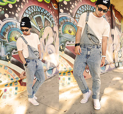 Shawn C. - Forever 21 Washed Out Overalls, Topman Mesh Tee, Converse High Top Sneakers - Ignorant Art (Visit my blog)