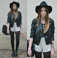 Astrid H - H&M Leather Jacket, Forever 21 Hat, H&M Crop Top - Black + white