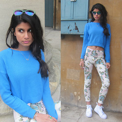 Roshini Daswani - Asos Stitch Detail Crop Jumper, Topshop Aloha Print Joni Jeans, Primark White Trainers - Floral Fantasy