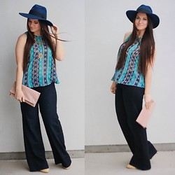 Kimberley Pavao - Asos Hat, 7 For All Mankind Jeans, Clare V. Clutch, House Of Harlow Necklace - Boho Betty