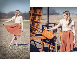 Jessica Lynn Capron - Forever 21 Orange Skirt, Forever 21 Collar Necklace, Old Navy Tan Woven Flats, Forever 21 Collar Necklace - In Michigan Fashion